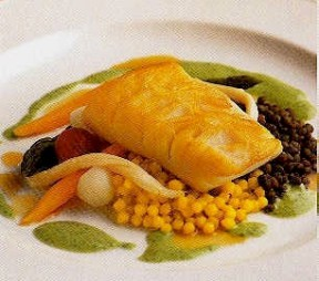 Roasted Sablefish with Warm Israeli Couscous, Lentils, and Watercress Verjus