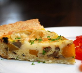 Comox Brie, Portobello Mushroom and Butternut Squash Fall Quiche