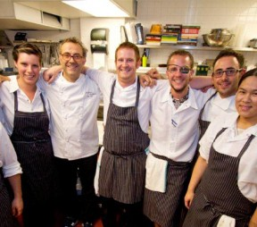 The kitchen crew at Cibo. Massimo Bottura is 4th from the left and to his right is Neil Taylor. Photo courtesy of Cibo