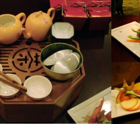 Left: The Imperial Tea Service, upper right: tea-cured salmon, lower right: the traditional moon cake and contemporary moon cake