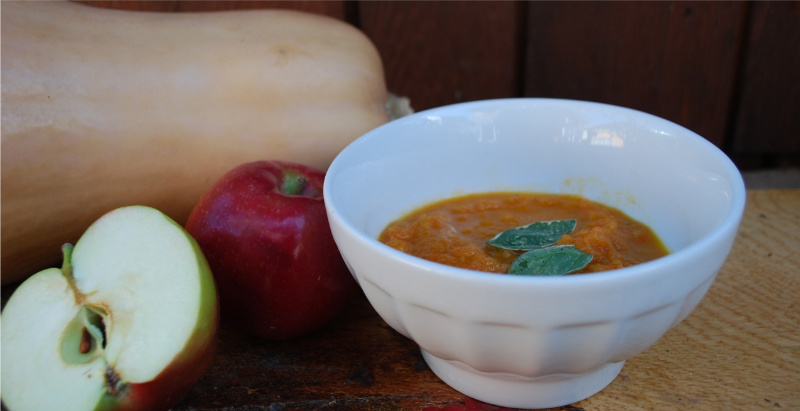 Roasted Butternut Squash and Apple Soup with Crispy Buttered Sage