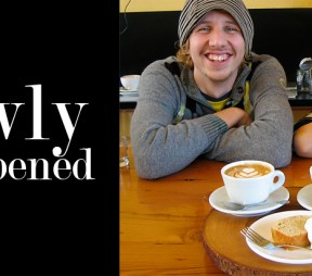 Jared and Miyuki Nyberg with Spiced Water's Capaccino, Maccha Latte and delicious house made Lemon Loaf.