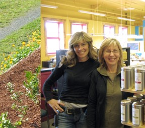 Left: Margit Nellemann co-creator of Teafarm. Right: Cindy Dreger and Deanna Danychuk of Ingredients Health Food and Apple Café