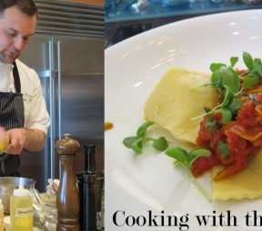 left: Sonora Executive Chef Terry Pichor right: The finished product Dungeness crab ravioli with summer ragout. Photos by Anya Levykh