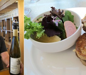 left: Hillside Tasting Room Manager Charlotte Sherriff with the 2011 Muscat Ottonel. right Hillside confit duck leg grilled cheese with summer beet salad. Photos by Anya Levykh