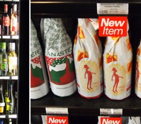 left: Beers wrapped in paper at The Strath. right: Wines in the cooler.Photos by Deanna Ladret