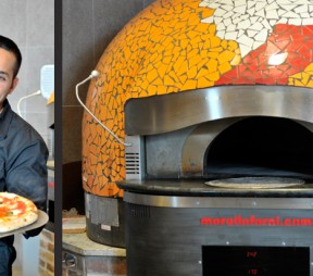 left: Famoso Neapolitan Pizzeria Market Square owner Corey Arsenault shows off a Margherita. right: The Morelloforni pizza oven. Photos by Gary Hynes