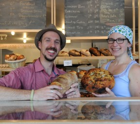 Mark and Megan Theobald at Leaven Woodfire Bakery.