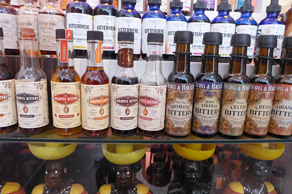 An array of bitters for sale at BYOB